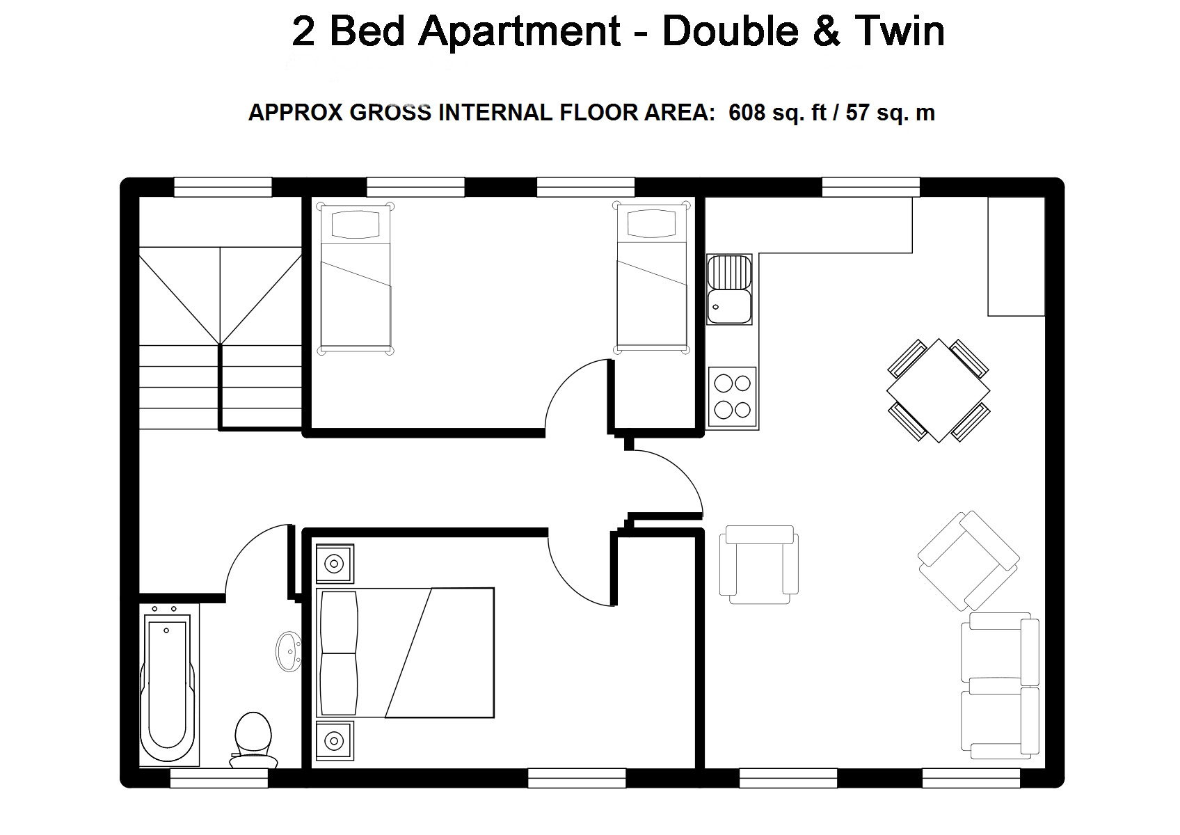 Two Bedroom Serviced Apartments Bristol- Double & Twin- Beaufort Court