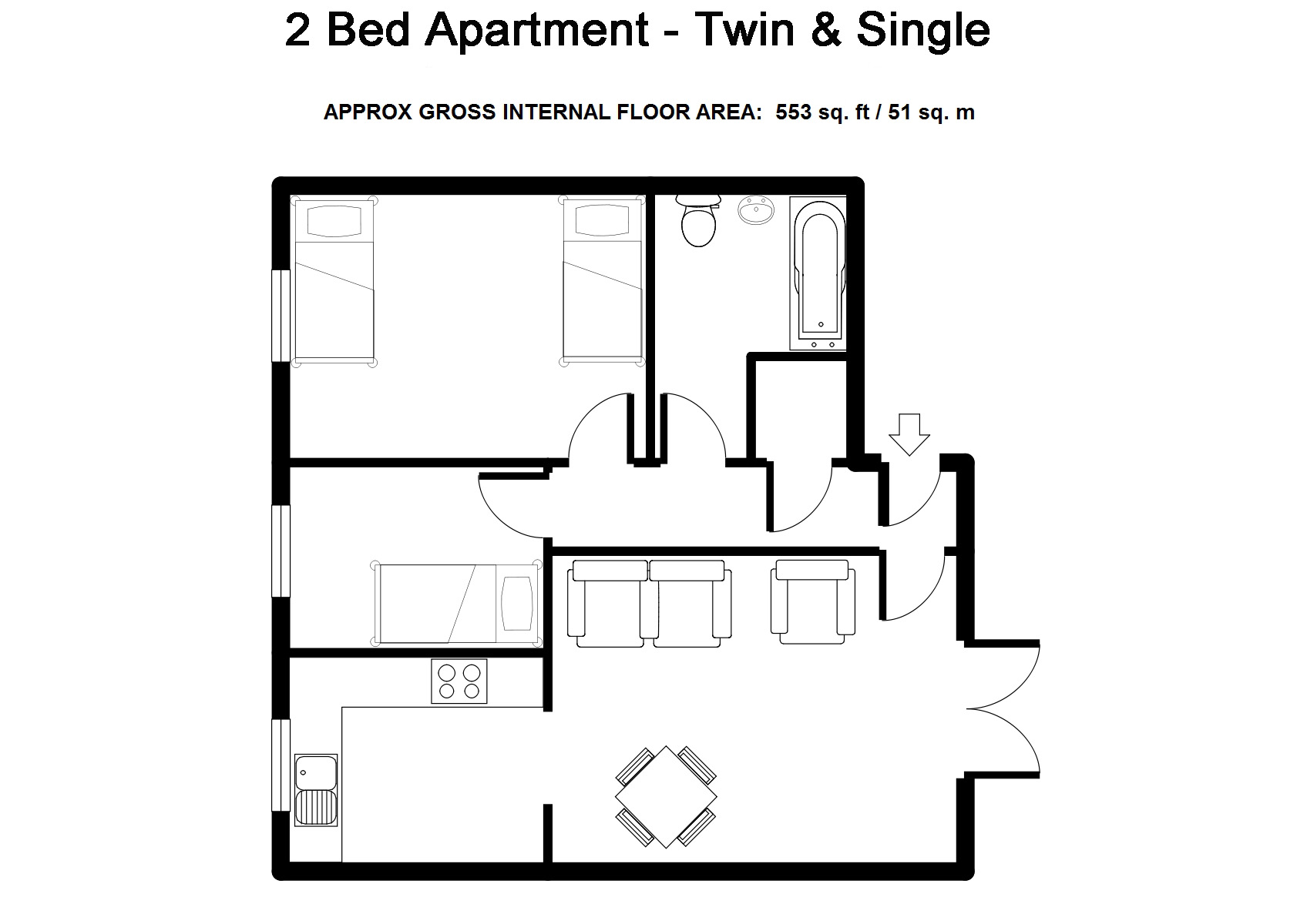 Two Bedroom Serviced Apartments Bristol - Twin & Single - Beaufort Court