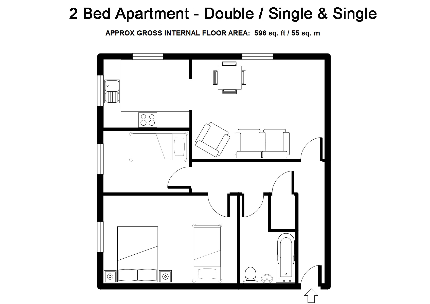 Two Bedroom Serviced Apartments Bristol - Double / Single and Single- Beaufort Court
